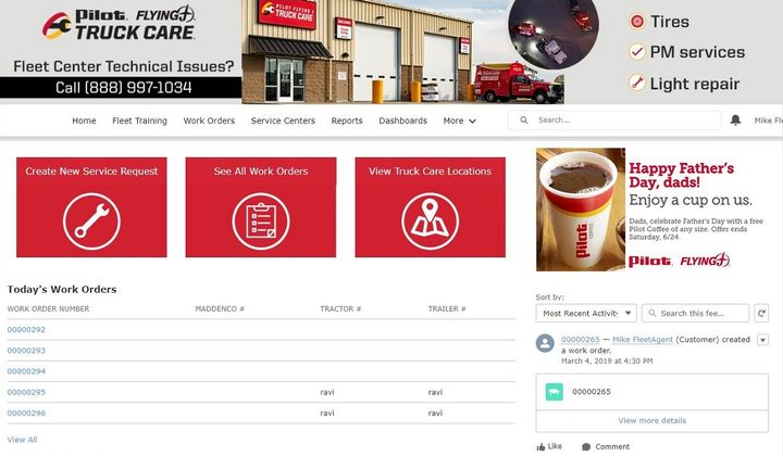Pilot Flying J has launched a new virtual maintenance system called Fleet Center, offering real-time visibility and flexibility online for fleets to manage maintenance for their equipment.
