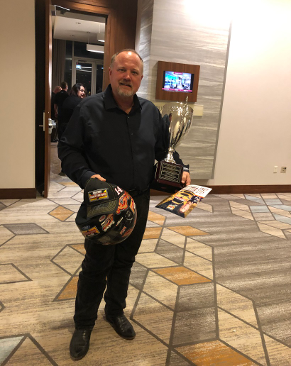 Holding just a few of his prizes, a stunned Steven Brain prepares to talk to the media after being named the 2018 Rush Technician Rodeo Grand Champion - Photo: Jack Roberts