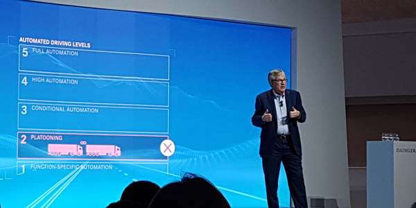 Daimler Truck and Bus chief Martin Daum talks about platooning and autonomous trucks research at...
