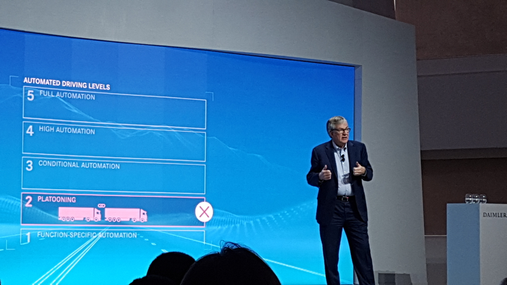 Daimler Truck and Bus chief Martin Daum talks about platooning and autonomous trucks research at CES 2019.  - Photo by Jim Park