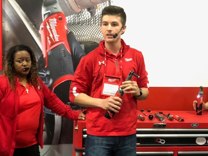 Milwaukee Tools product manager Zach Welsh demonstrates the company's new M12 Extended Reach Cordless Ratchet at the company's New Products Symposium 2019 in Brookfield, Wisconsin, on June 6, 2019.  - Photo: Jack Roberts