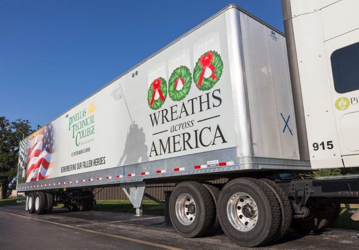 New permanent trailer wraps make it possible for trucking companies to express their support of the Wreaths Across America program all year long.  - Photo courtesy Modagraphics