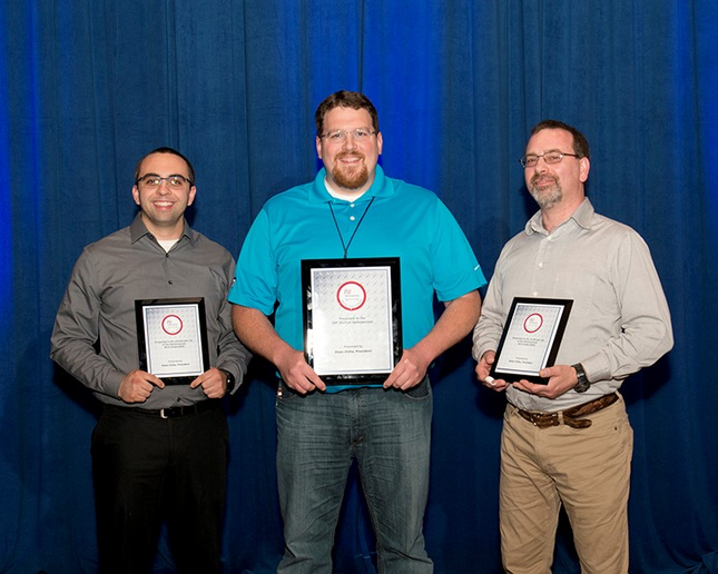 Rick Davis (center), Lead Technician with Hogan Truck Leasing,a NationaLease Member, was named Top Tech at NationaLease's 8th Annual Tech Challenge held in May during the organization's annual Maintenance Managers Meeting in Charlotte, N.C.  - Photo courtesy NationaLease