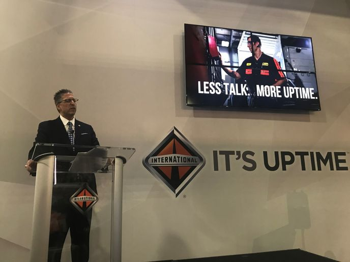 """At International Trucks, we are constantly thinking of ways to deliver more uptime for our customers,"" said Michael Cancelliere, Navistar's president, Truck, at TMC in Atlanta.