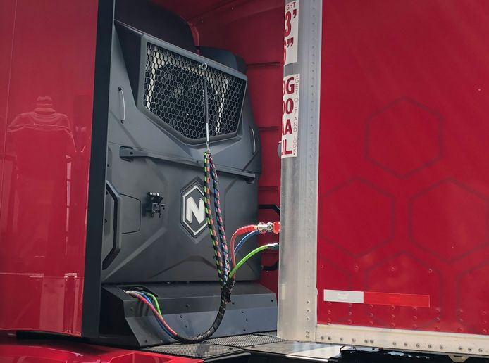 Bosch said a new partnershiip with Powercell Sweden AB will boost research and development of polymer-electrolyte membrane (PEM) fuel cells, like this Bosch system mounted on the Nikola Two hydrogen-electric tractor.