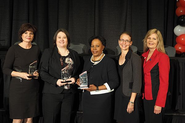 Women In Trucking Association is seeking nominees for its Influential Woman in Trucking Award. Pictured are finalists of the 2017 Influential Woman in Trucking award Tana Greene, CEO, Blue Bloodhound; Traci Crane, Senior Manager, Fleet Services, CFI; and Daphne Jefferson, Administrator, FMCSA (2017 winner).