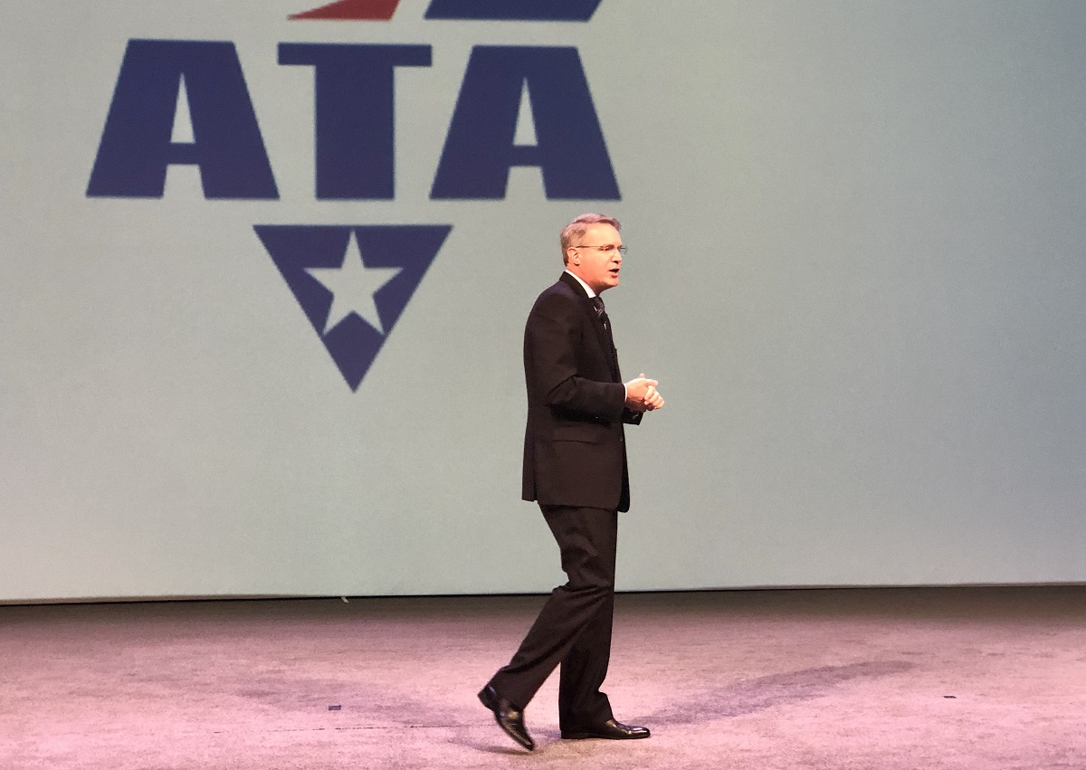 """ATA President and CEO Chris Spear declared: """"We don't favor either side (Republican or Democrat)over the other and our Truck PAC support confirms it.""""  - Photo: David Cullen"""