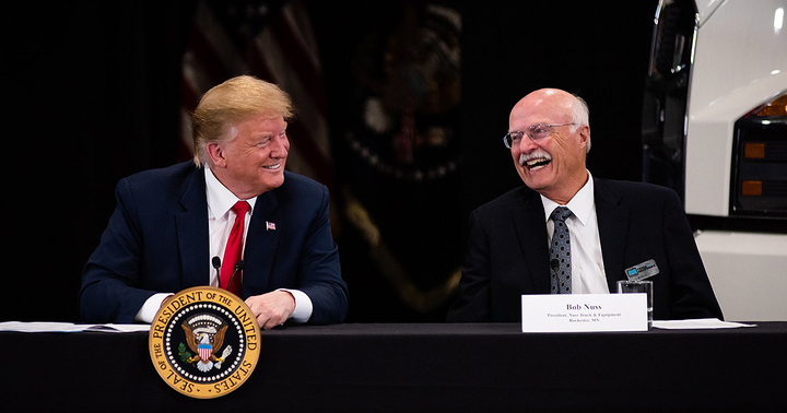 President Trump and senior White House officials met with Bob Nuss of Nuss Truck & Equipment in Burnsville, Minnesota about taxes and the economy and asked for his support of aFederal Excise Tax repeal.  - Photo via National Automobile Dealers Association