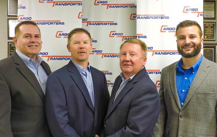 Cargo Transporters leadership personnel, (left to right) Dennis Dellinger, Jerry Sigmon Jr., Jerry Sigmon Sr., Adam Heavner. Dellinger was promoted to president and chief executive officer at the North Carolina-based carrier. 