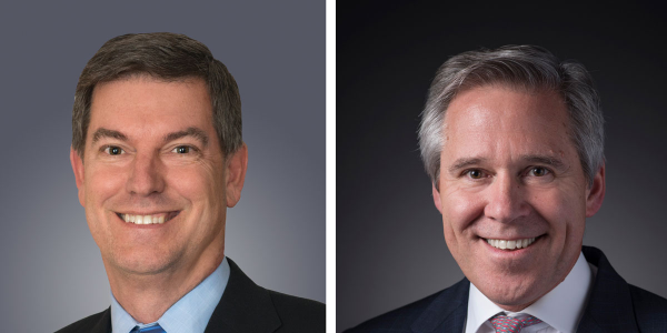 Cummins President and COO Rich Freeland, left, will be succeeded by Tony Satterthwaite, right.