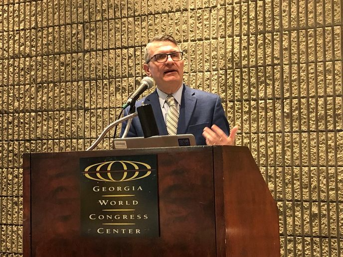 Mihai Dorobantu, director, technology planning and government affairs, Eaton's Vehicle Group, spoke about the company's contributions to the SuperTruck II project at the Technology & Maintenance Council's Annual Meeting in Atlanta.