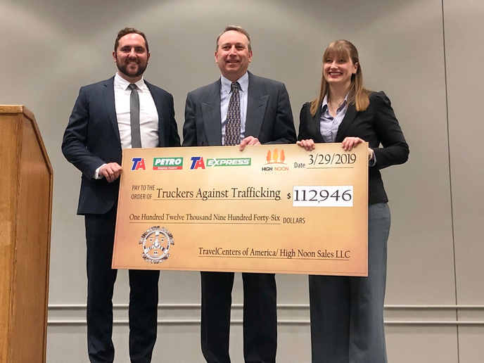 Justin Hoffman, vice president of sales and marketing, High Noon Sales; Tom Newbould, senior vice president, Stores, TravelCenters of America and Helen Van Dam, Freedom Drivers project director, Truckers Against Trafficking.