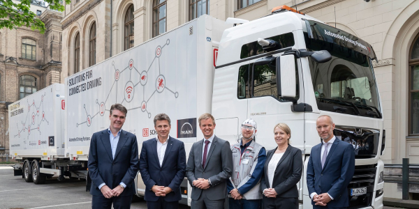 The partners in a pilot project that ran electronically connected trucks in Germany for seven...