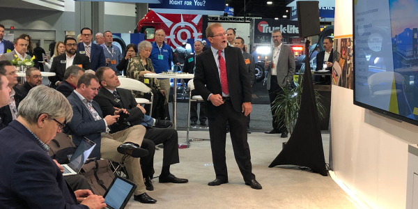 Rusty Rush talks to reporters about the new RushCare Parts Connect online ordering during a...