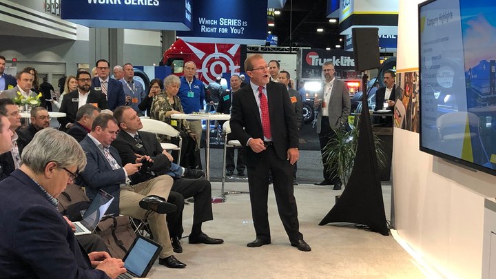 Rusty Rush talks to reporters about the new RushCare Parts Connect online ordering during a press conference at the TMC annual meeting.