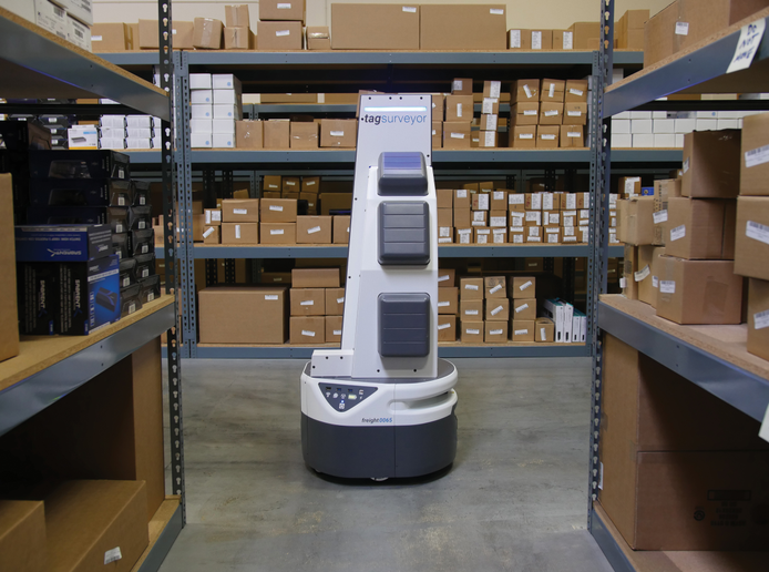 The Fetch Robotics TagSurveyor robots are performing automated cycle counting and reducing inventory loss in Ryder System warehouses by collecting, locating, and tracking RFID tags on products and bins.  - Photo: Ryder System