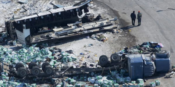 The collision between a commercial truck and a motor coach carrying the Humboldt Broncos junior...