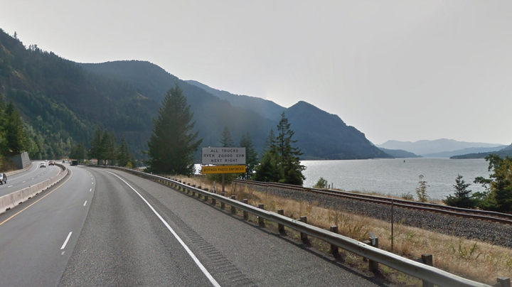 Trucks driving through the Columbia River Gorge on I-84 will be required to pull into an inspection area to verify the use of tire chains during certain snowy conditions.