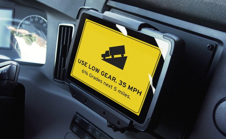 Drivers will receive in-cab alerts alerting to upcoming conditions and safe places to pull over.  - Photo courtesy Drivewyze