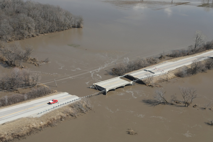 This bridge in Omaha, Nebraska was washed out by the heavy flooding which hit the Upper Midwest in the regions surrounding the Mississippi and Missouri rivers.