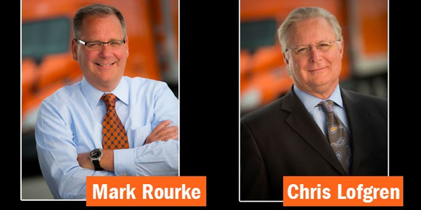 Schneider's current CEO, Chris Lofgren (right), will retire next April and be succeeded by Mark...
