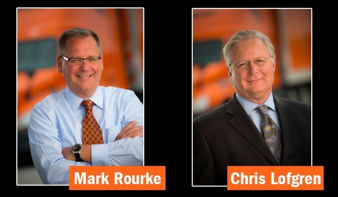 Schneider National's current CEO, Chris Lofgren (right), will retire next April and be suceeded by Mark Rourke (left).