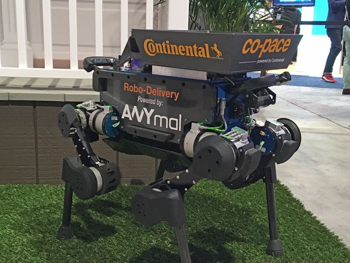 A closer look at the package-delivering robot dogs Continenal showcased at CES 2019.  - Photo by Jim Park