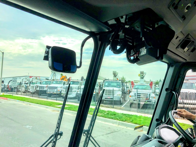 With the pre-wiring option, the Lytx Drivecam can be mounted to the windshield of a truck with minimal clutter - seen here in this demonstration Mack LR model.