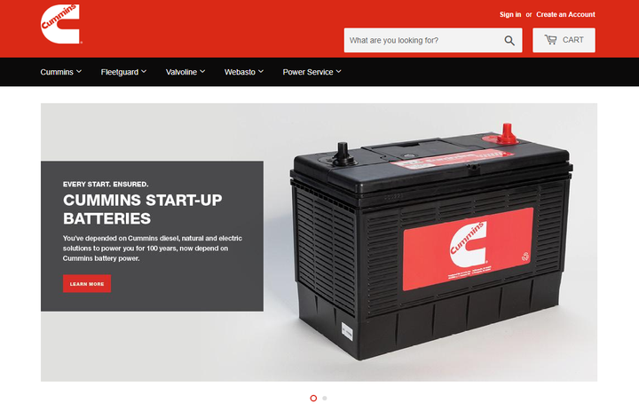 Cummins has launched an online store for customers in the U.S. at shopcummins.com, with an offering more than 200 of the company's products.  - Screenshot via shopcummins.com