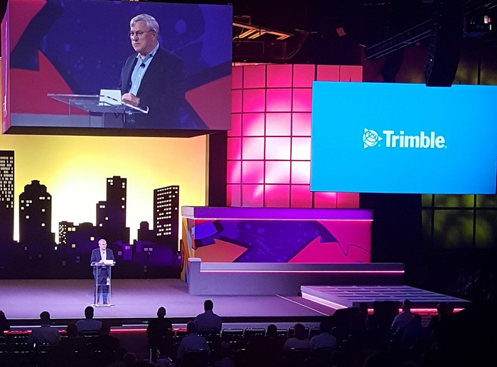 Steve Berglund, president and CEO of Trimble, talks about the company's plan to unify TMW, PeopleNet and 10-4 Systems under the Trimble name, speaking during the opening session at the In.Sight user conference. 