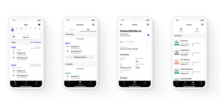 The new app interface was built for a more intuitive experience for carriers and their drivers.  -