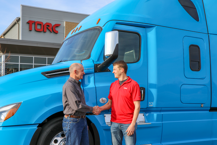 Roger Nielsen, CEO of Daimler Trucks North America (left) and Michael Fleming, CEO of Torc announced the acquisition of Torc by Daimler and a major collaborative effort on autonomous technology between the two companies in the U.S.