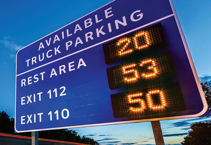 The I-10 Corridor Coaltion is asking for funding for a truck parking system that would alert drivers to available truck parking along Interstate 10.  - Photo via Truck Parking Information and Managment System
