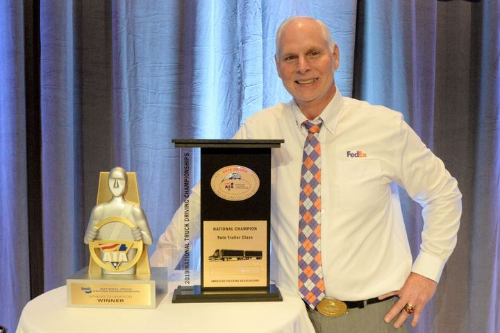 FedEx Freight driver Scott Woodrome took home his second consecutive win as the Bendix Grand Champion of the 2019 National Truck Driving Championships.
