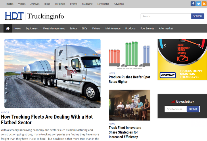 Truckinginfo.com has been redesigned from the ground up, offering fleet users a cleaner, more organized design that optimizes content for both desktop or mobile device.