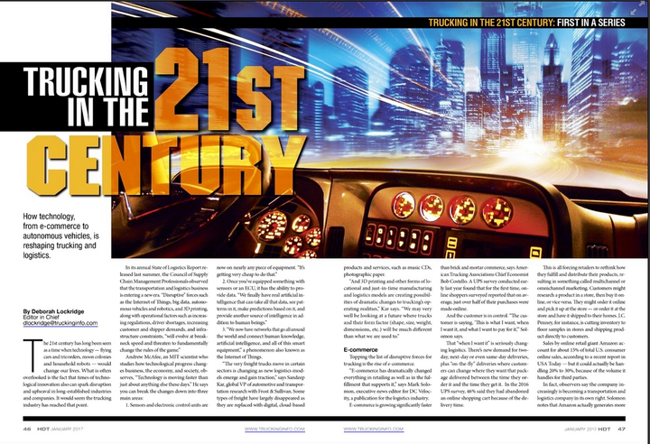 Heavy Duty Trucking magazine won a national Bronze Azbee award for its 10-part Trucking in the 21st Century print article series.