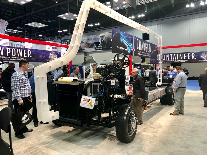 Freightliner Custom Chassis Corporation has unveiled an all-electric pilot version of its MT chassis, featuring a Cummins PowerDrive electric powertrain.