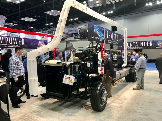 Freightliner Custom Chassis Corporation has unveiled an all-electric pilot version of its MT chassis, featuring a Cummins PowerDrive electric powertrain.  - Photo: David Cullen
