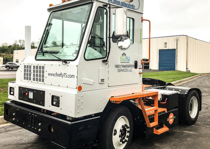 In an effort to eliminate diesel emissions at its Ohio distribution center, Kraft Heinz has deployed three Orange EV T-Series electric terminal trucks to take on the bulk of work at the facility.  - Photo courtesy Orange EV