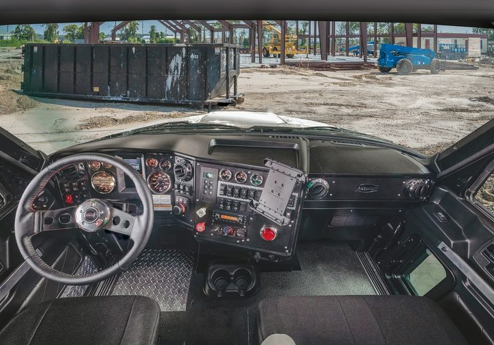 Autocar says the workspace of the cab maximizes productivity for drivers with everything designed to be visible and within easy reach.