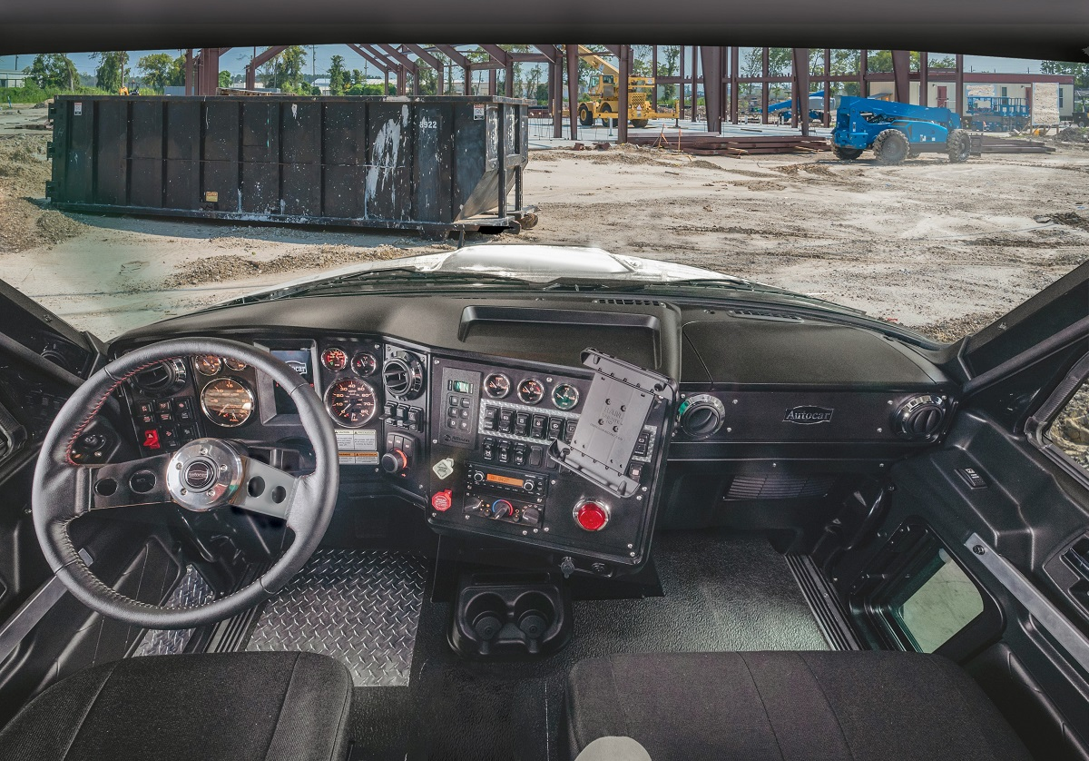 Autocar says the workspace of the cab maximizes productivity for drivers with everything designed to be visible and within easy reach.  -