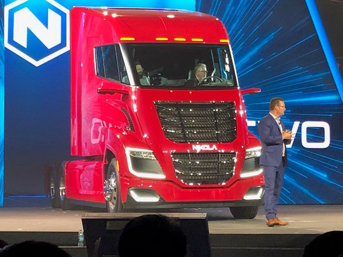 The Nikola Two truck will come in both hydrogen-electric hybrid and all-electric versions for long- and short-haul operations.