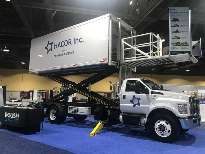 Hacor, an in-flight airline catering services provider, purchased seven Ford F-750 delivery trucks with propane autogas fueling systems that are produced by Roush CleanTech.