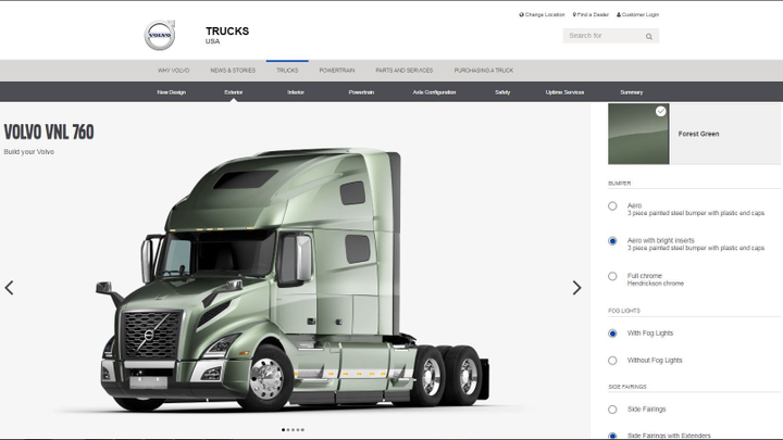 The Volvo Trucks online configurator allows users to spec out the new Volvo VNR and VNL models, selecting exterior options, interiors, powertrain and uptime services. Screenshot via Volvo Trucks