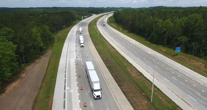 Volvo Trucks North America and FedEx are collaborating on a project testing three-truck platooning with different trailer configurations on an 18-mile stretch of North Carolina turnpike.  - Photo courtesy Volvo Trucks North America