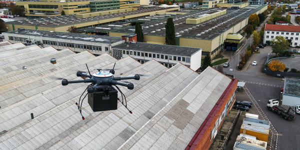 "The ZF ""hexacopter"" flies at speeds up to 20 mph over the roofs of plant buildings and only..."