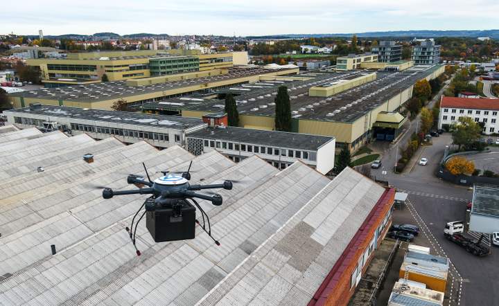 "The ZF ""hexacopter"" flies at speeds up to 20 mph over the roofs of plant buildings and only crosses driveways and sidewalks where there is no alternative.  - Photo: ZF"
