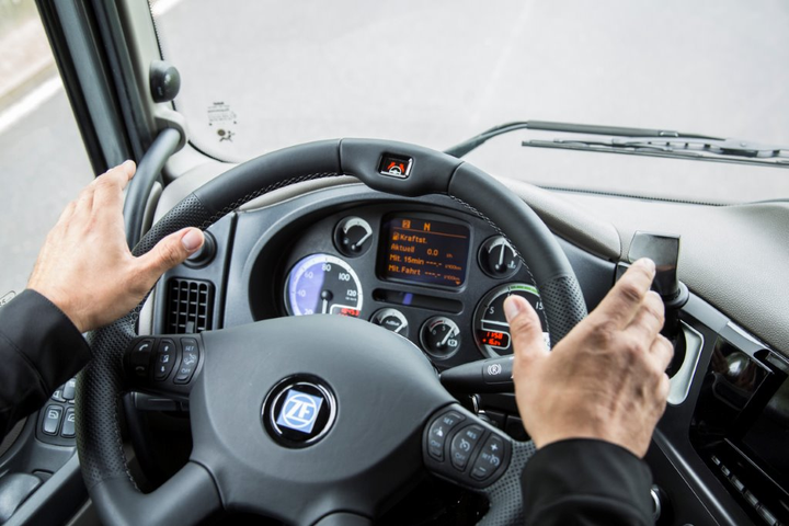 Steering wheel of ZF's Innovation Truck automated vehicle.
