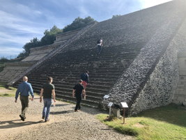 In nearby Cholula, an ancient near-vertical staircase confronts members of the media at...