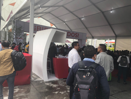 Expo Transporte, held at a dramatically situated hilltop conference center, opened in a light...